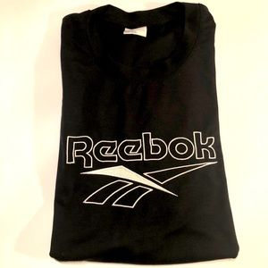 REEBOK big logo embroidered tee black white EUC